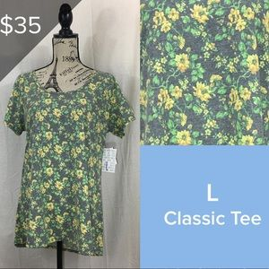 Vintage LuLaRoe Classic T L Grey Yellow Floral